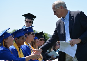 Congressman Steve Israel shakes the hands of Northport graduates on Saturday after addressing the class with some words of wisdom.